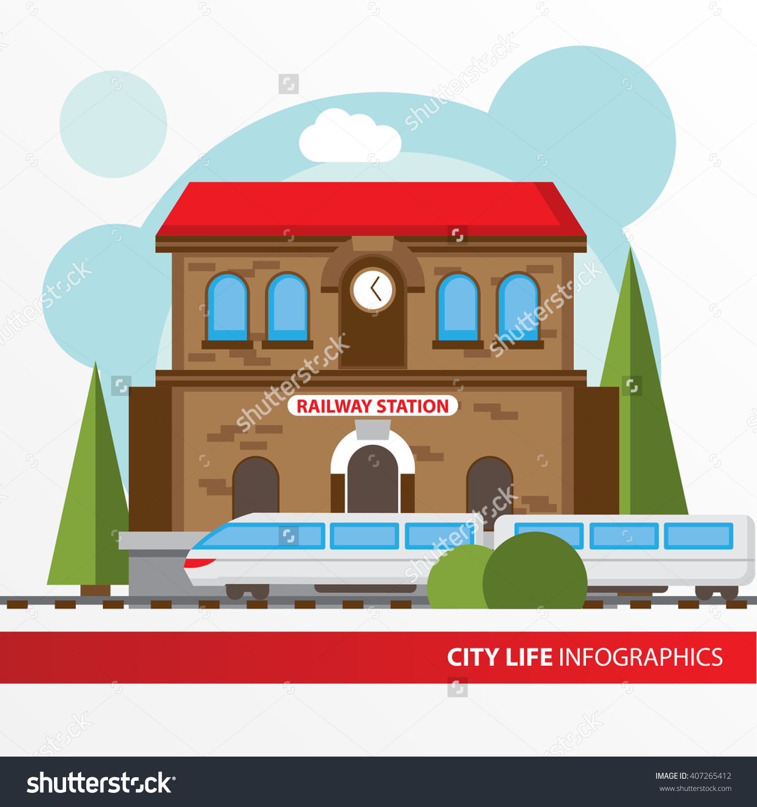 Train Station Building Icon Flat Style Stock Vector 407265412.