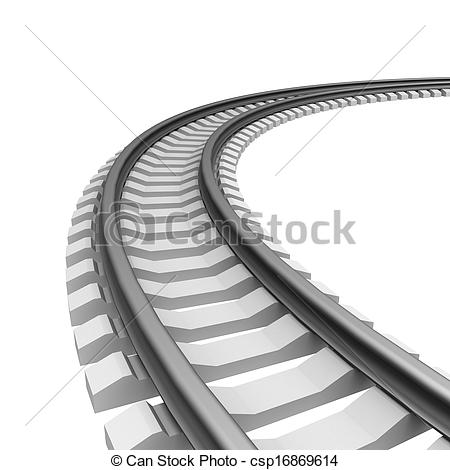 Clipart of Single curved railroad track isolated csp16869614.