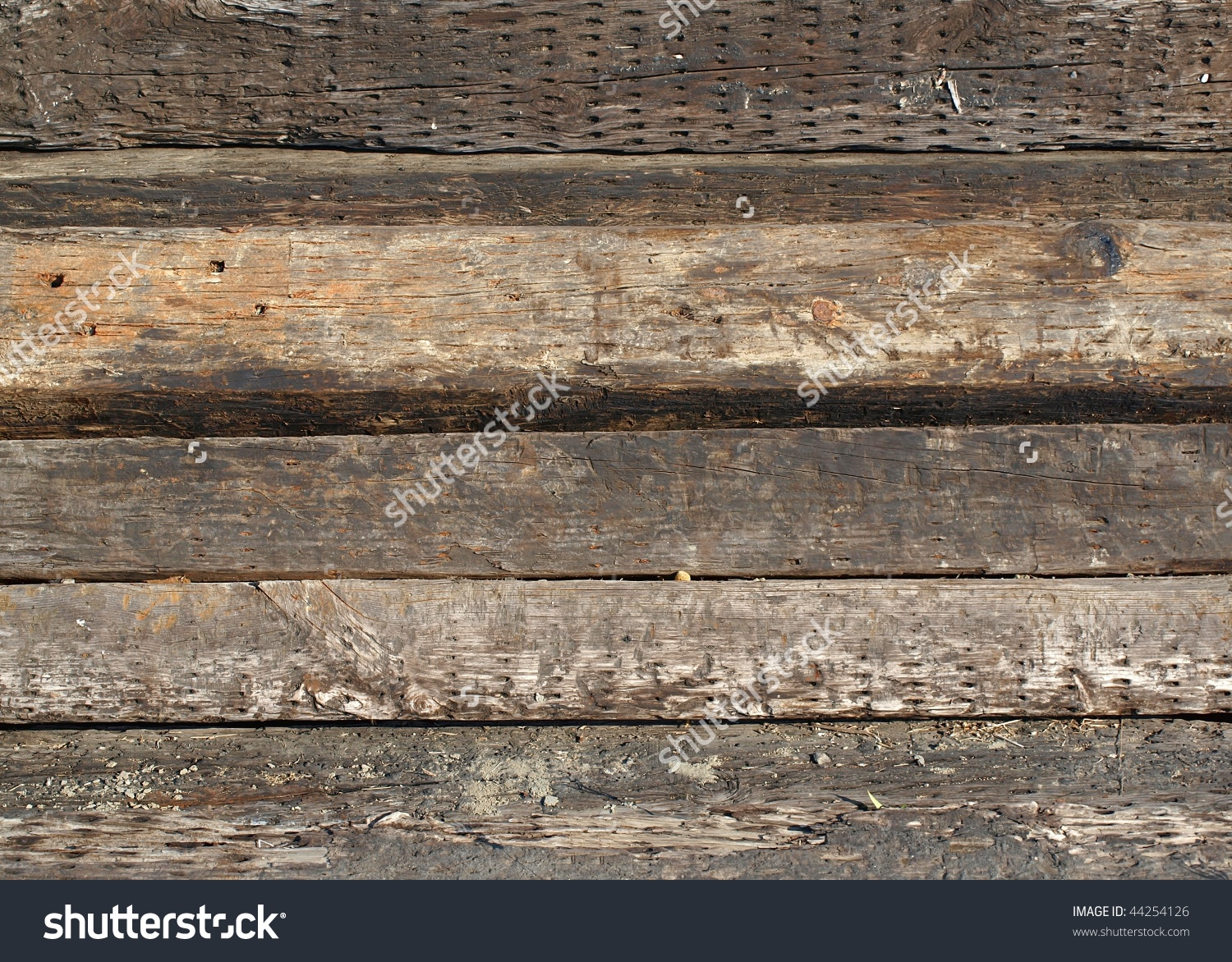Old Wooden Railroad Ties Sleepers They Stock Photo 44254126.