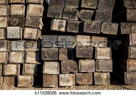 Stock Images of Stacked Railroad Ties k11539026.