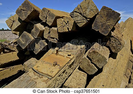 Stock Photography of Stack of railroad ties.