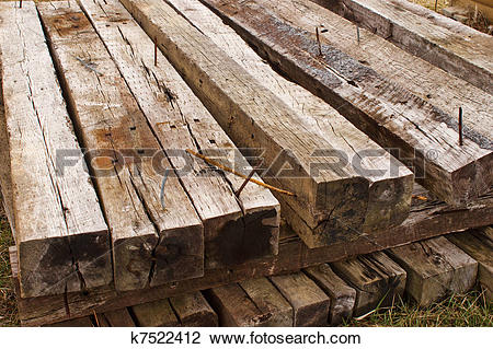 Stock Photo of Railroad Ties Top Front k7522412.