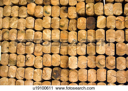 Stock Photography of Stack of landscaping railroad ties in the.