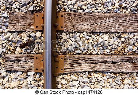 Stock Image of Railroad Track Ties.
