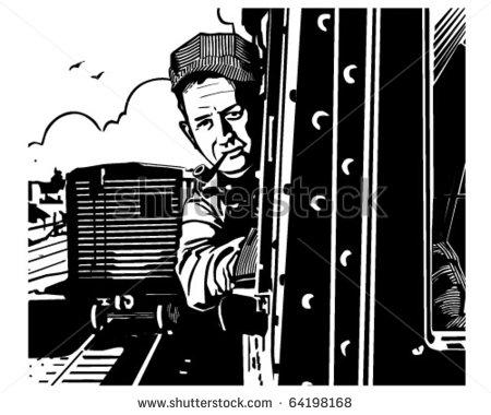 Railroad engineer clipart.