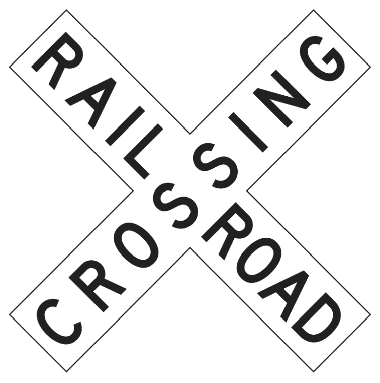 railroad crossing sign.