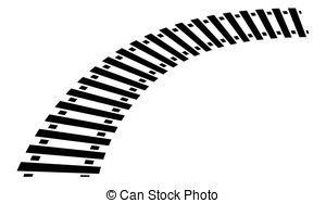 Clipart Vector of Curving train track, rail track silhouette.