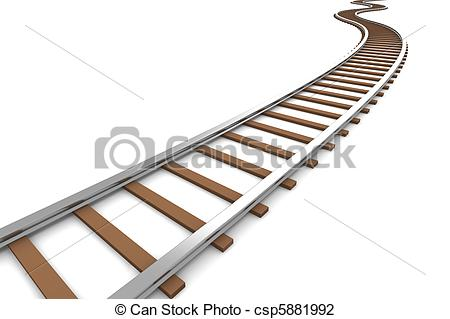Perspective Train Track Clipart.