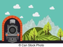 Vector Clipart of Railway tunnel sketch icon..