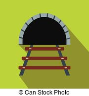 Vector Clip Art of Road tunnel icon with underpass entrance.