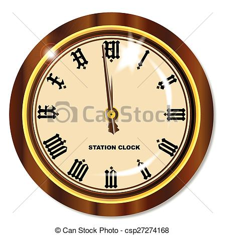 Clip Art Vector of Station Clock.