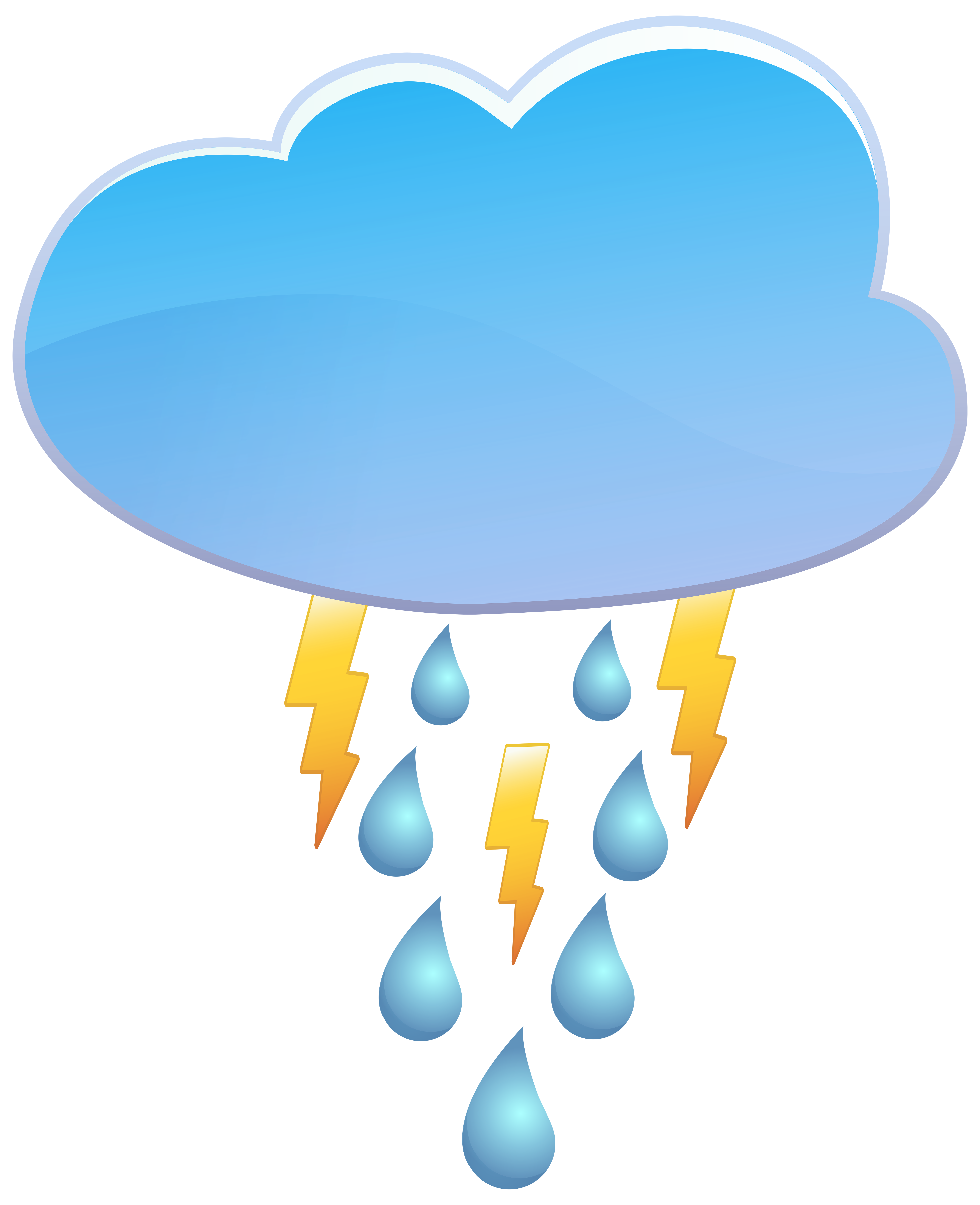 Cloud Rain and Thunder Weather Icon PNG Clip Art.