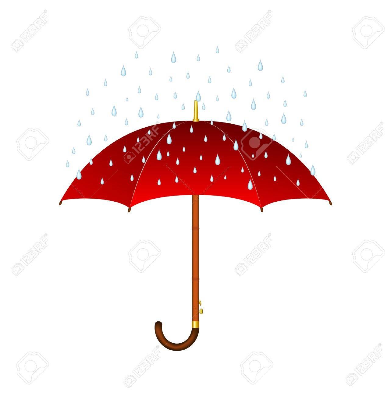 Umbrella In The Rain Clipart.