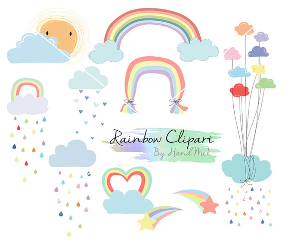 Rainbow Clip Art, Rain Cloud, Raindrops clipart PNG file.