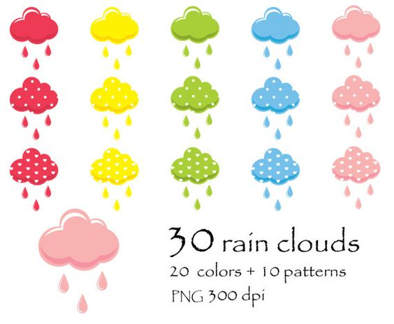 rain cloud clipart, Valentine clipart, rainy day clipart, weather.