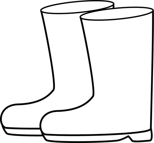 Black and White Rain Boots Clip Art.