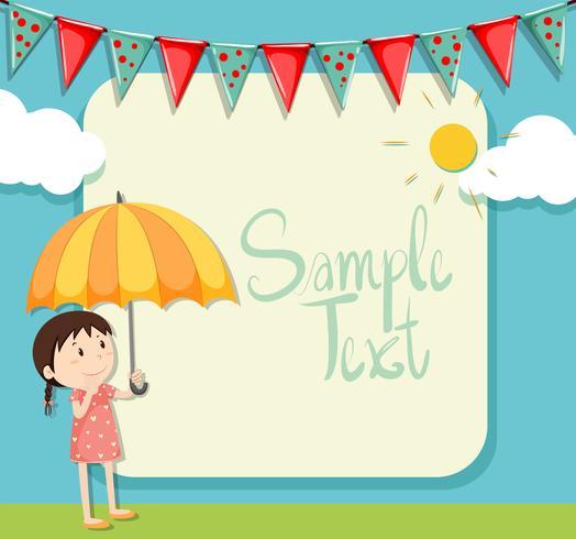 Border design with girl and umbrella.