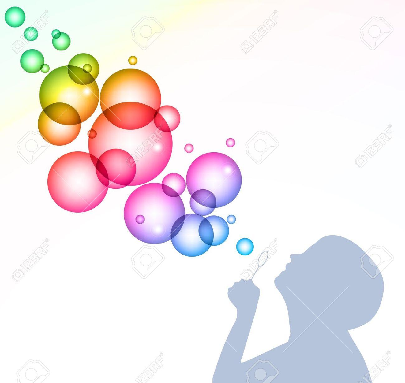Child blowing bubbles clipart.