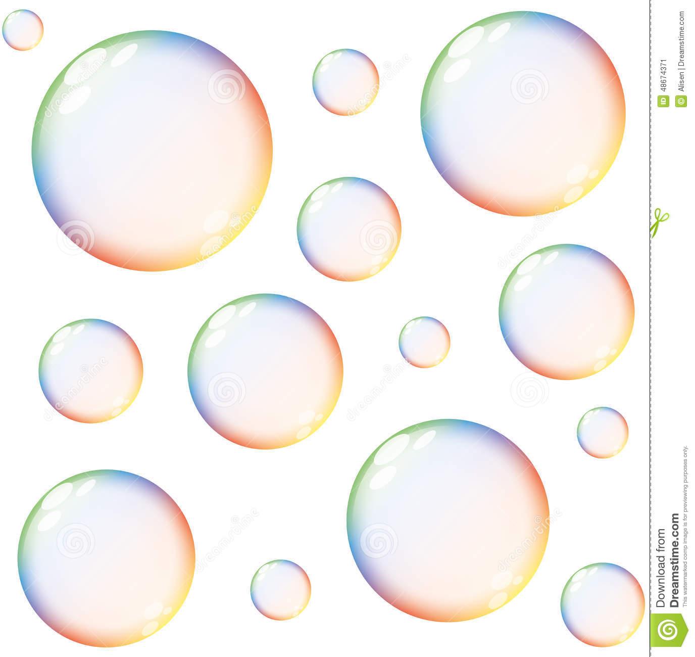 Rainbow bubbles clipart.