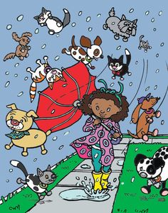 Raining Cats And Dogs And People Running Wild Clipart.