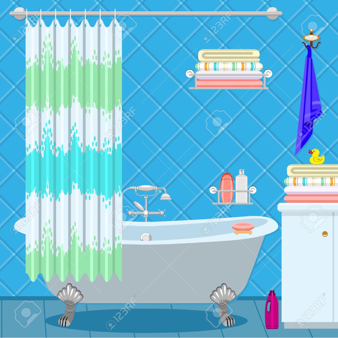 Bathroom Equipment. Bath On The Legs Of A Blue.