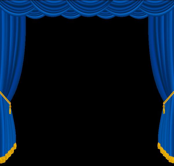 Transparent Blue Curtain PNG Clipart.