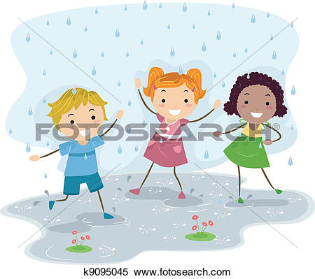 Clipart of Playing in the Rain k8696603.