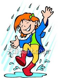 Little girl dancing in rain clipart.