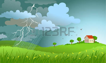 Rain Falling On House Clipart.