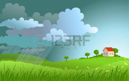 6,810 Rain Landscape Stock Vector Illustration And Royalty Free.