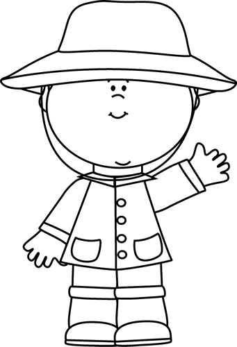 Black and White Boy Wearing a Raincoat Clip Art.
