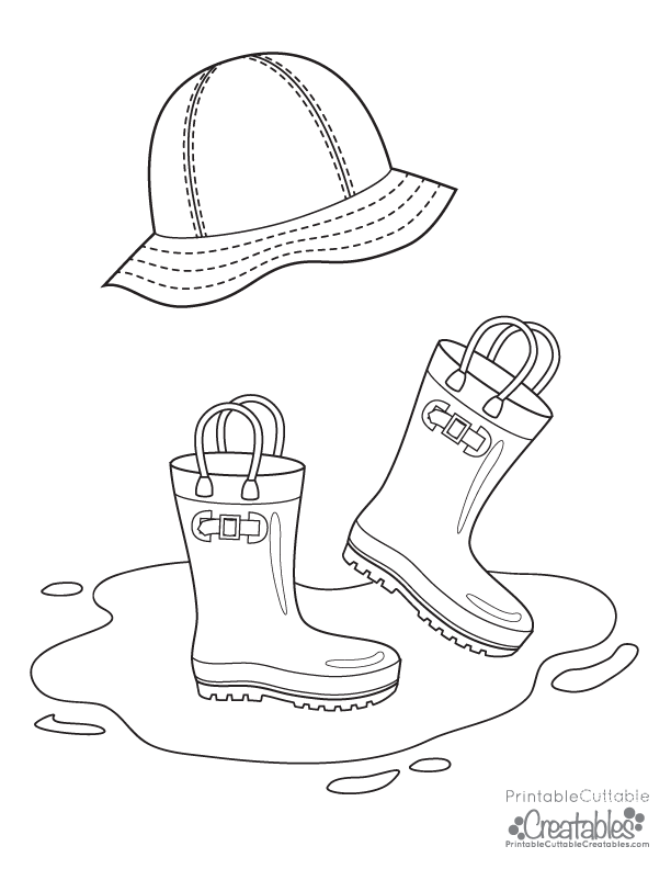 Rainboots Rain Hat Free Printable Coloring Page.