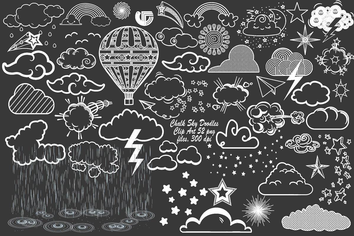 Chalk Sky Doodles (w/Rain Overlay).