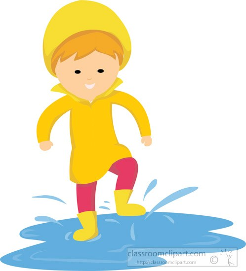 Clipart of young walking in puddle rain water » Clipart Portal.