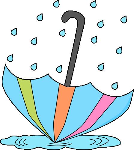 Umbrella and Rain Clip Art.