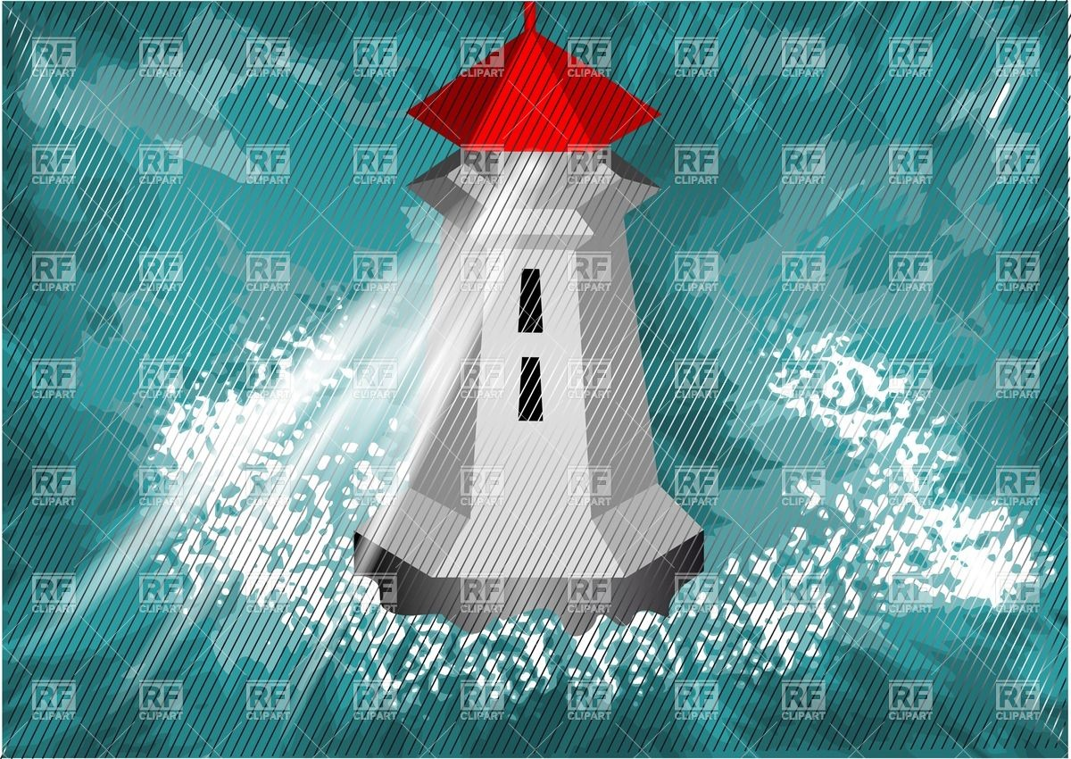 Lighthouse in the high sea under the rain Vector Image #27030.