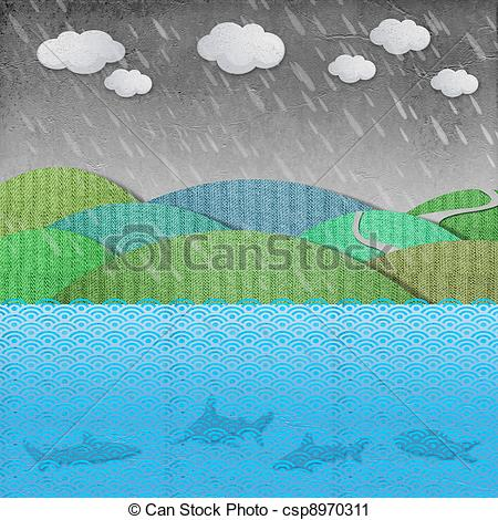 Clipart of sea and rain recycled paper.