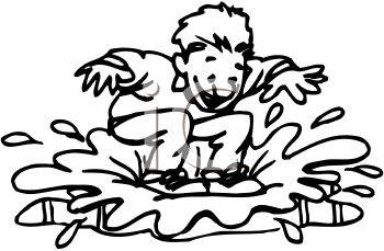 Black and White Cartoon of a Kid Splashing in a Rain Puddle.