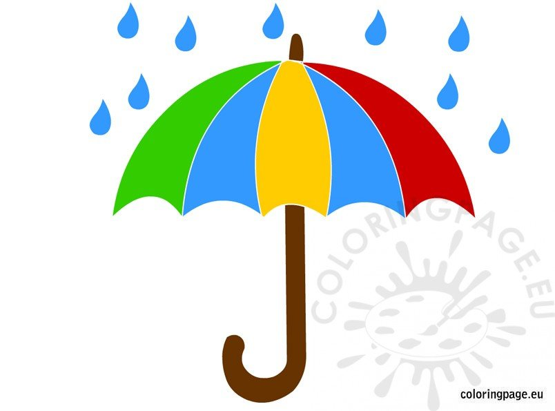 Umbrella and rain Clipart.