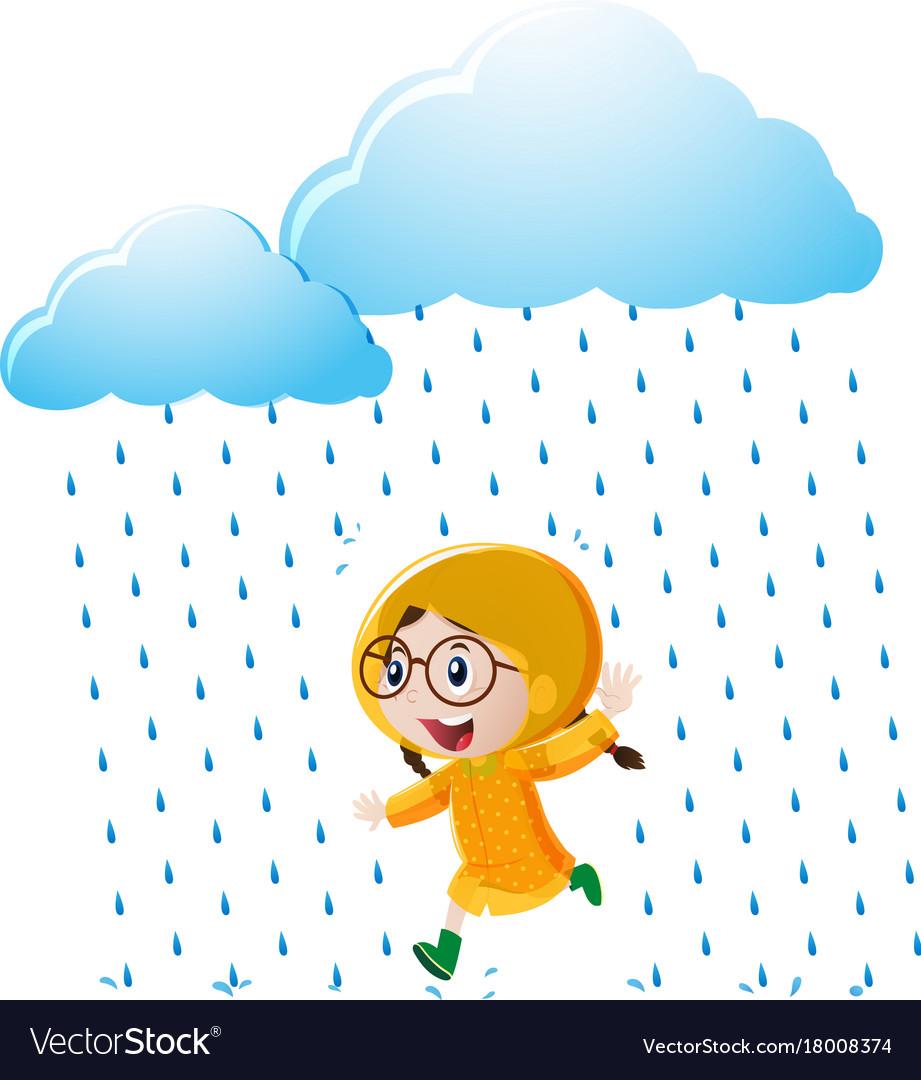 Girl with yellow raincoat running in the rain.