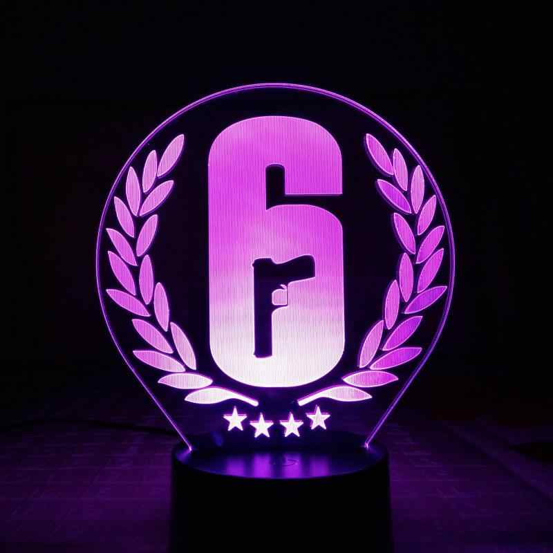 Rainbow Six Siege Table Lamp Touch Sensor 7 Color Changing Child Kids Gift  FPS Game Night Light LED Rainbow 6 Logo Bedroom Decor.