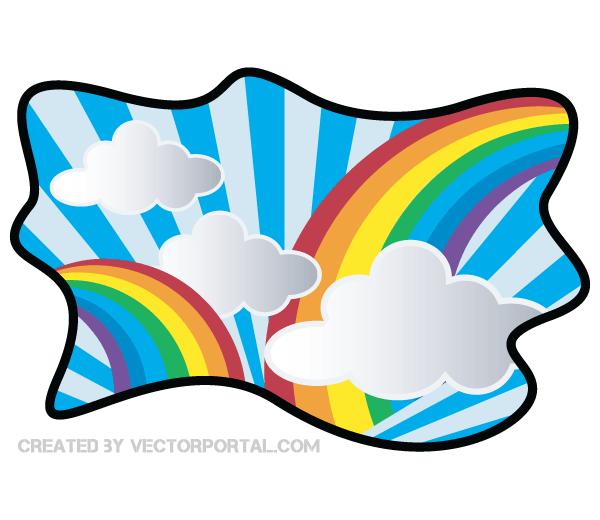 Rainbow with Cloud Clip Art.