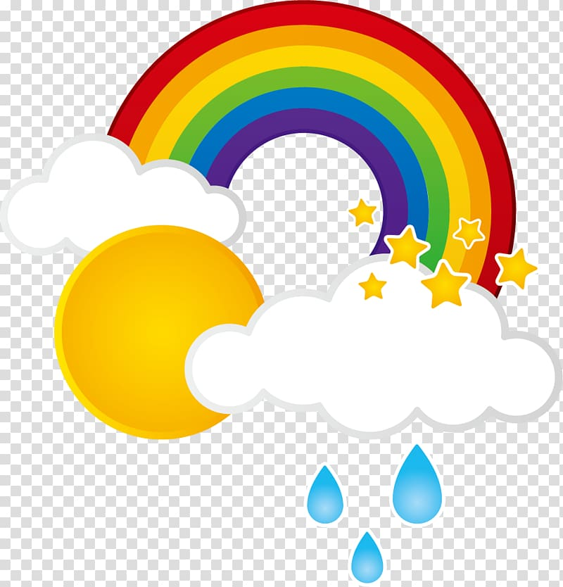 Rainbow near sun illustration, Rainbow Cloud Weather, Rain.