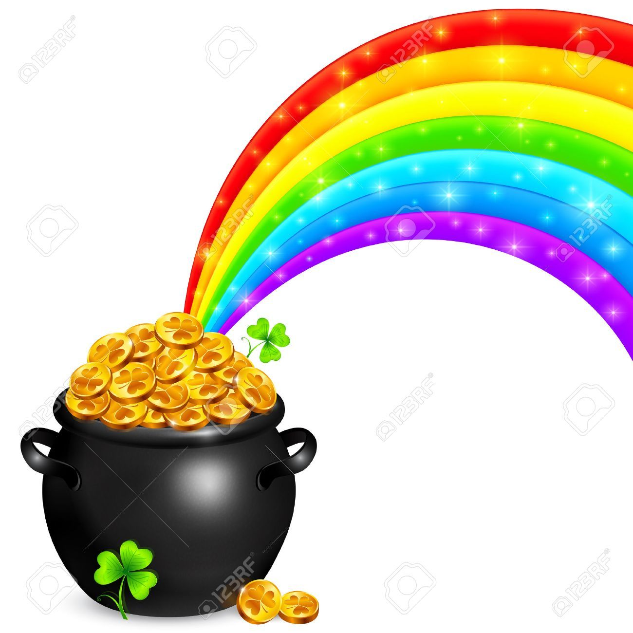 Rainbow with pot of gold clipart 2 » Clipart Portal.