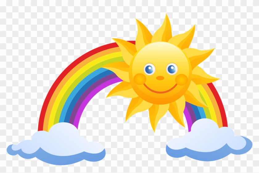 Free Rainbow And Sun Clipart.