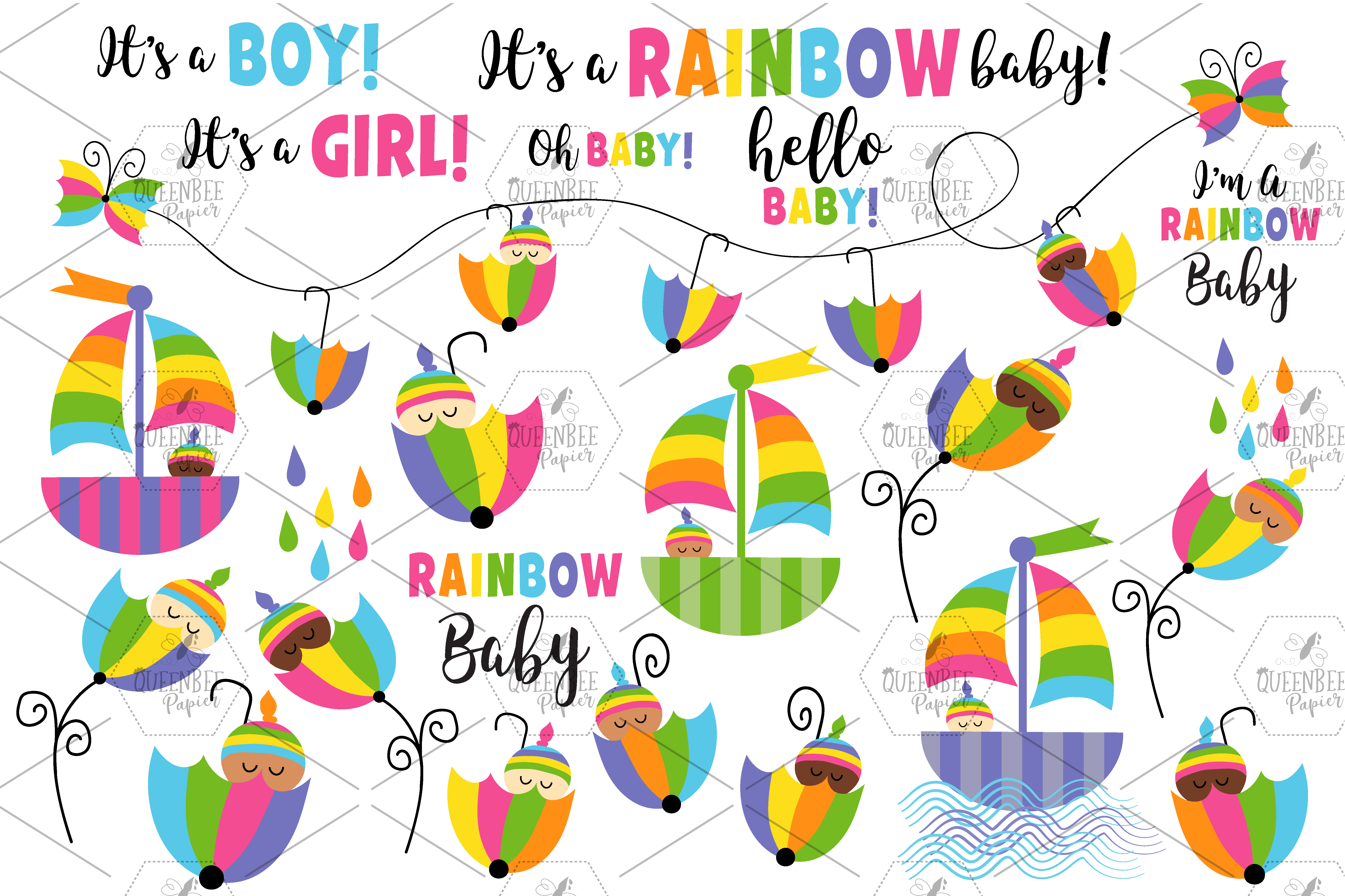 Rainbow Baby Clipart And Seamless Digital Papers Bundle.