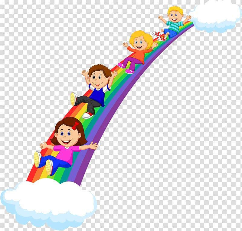 Three kids sliding on rainbow , Child Rainbow , Cartoon.