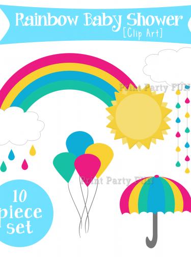 Rainbow Baby Shower Clip Art, Modern Rain Shower, Rain, Sun.