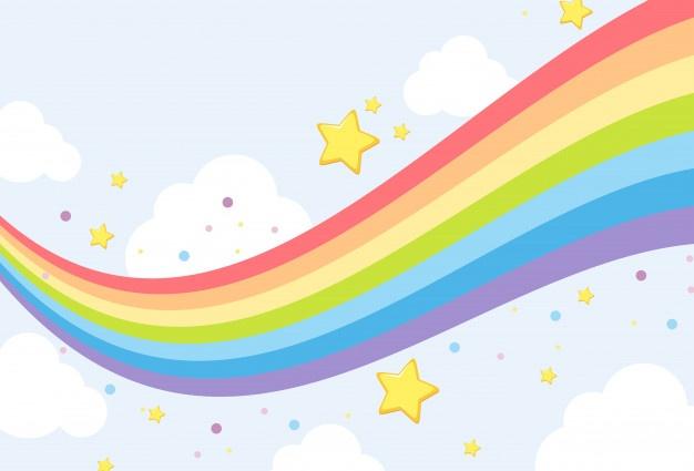 Sky rainbow background template Vector.