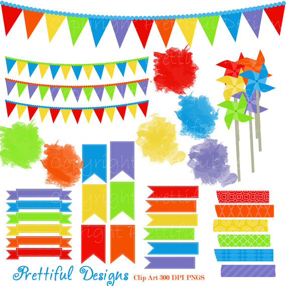 Rainbow Washi Tape Clip Art Pinwheel Banner Pendant Flag.